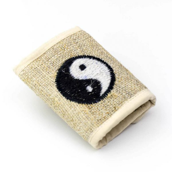 Yin Yang Embroidered Hemp Wallet