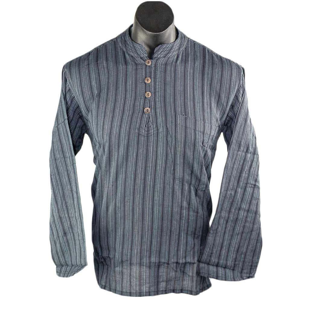 Black-striped-full-sleeve-cotton-kurta-thamelshop
