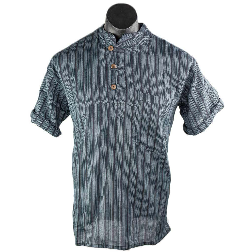 hippie-Black-striped-cotton-kurta-short-sleeve-worldwide-shipping-nepal-clothing-australia