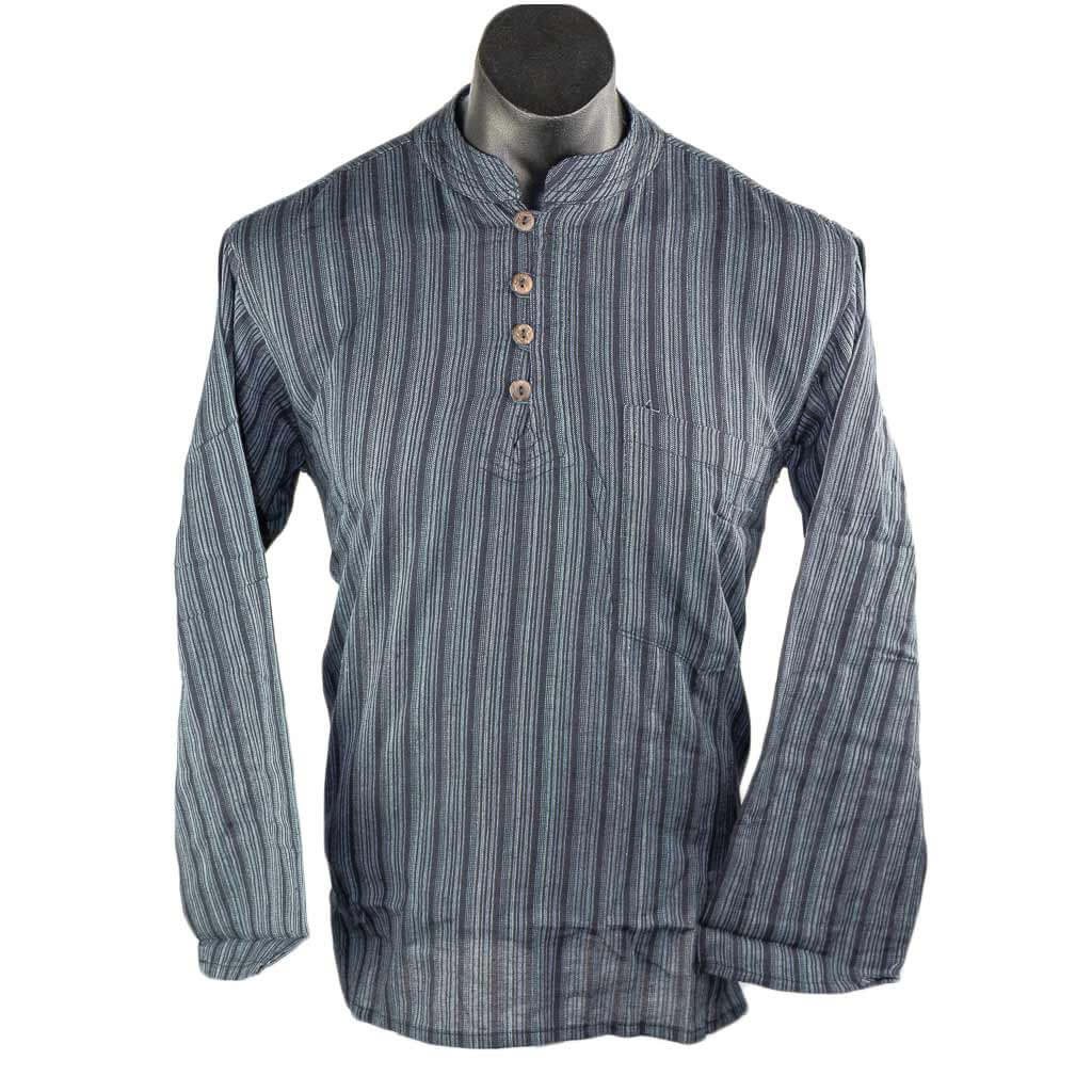 Hippie-Black-striped-full-sleeve-cotton-kurta-thamelshop-worldwide-shipping-nepal-clothing-australia