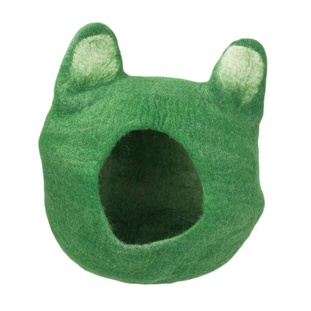 FC7501–Cat-Ears-Felted-Cat-House-(Green