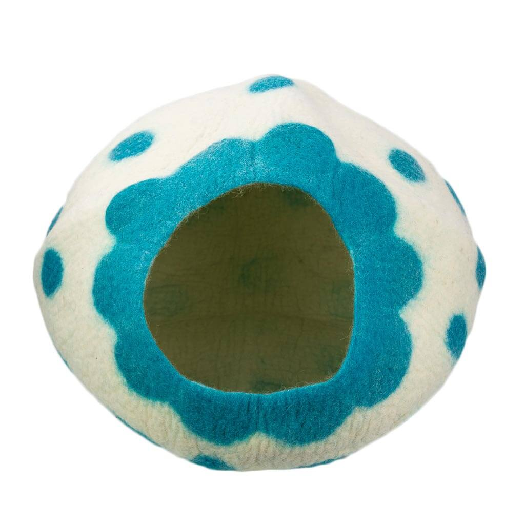 Turquoise-Polka-Felt-Cat-House-thamel-shop-hippie-worldwide-shipping-nepal-clothing