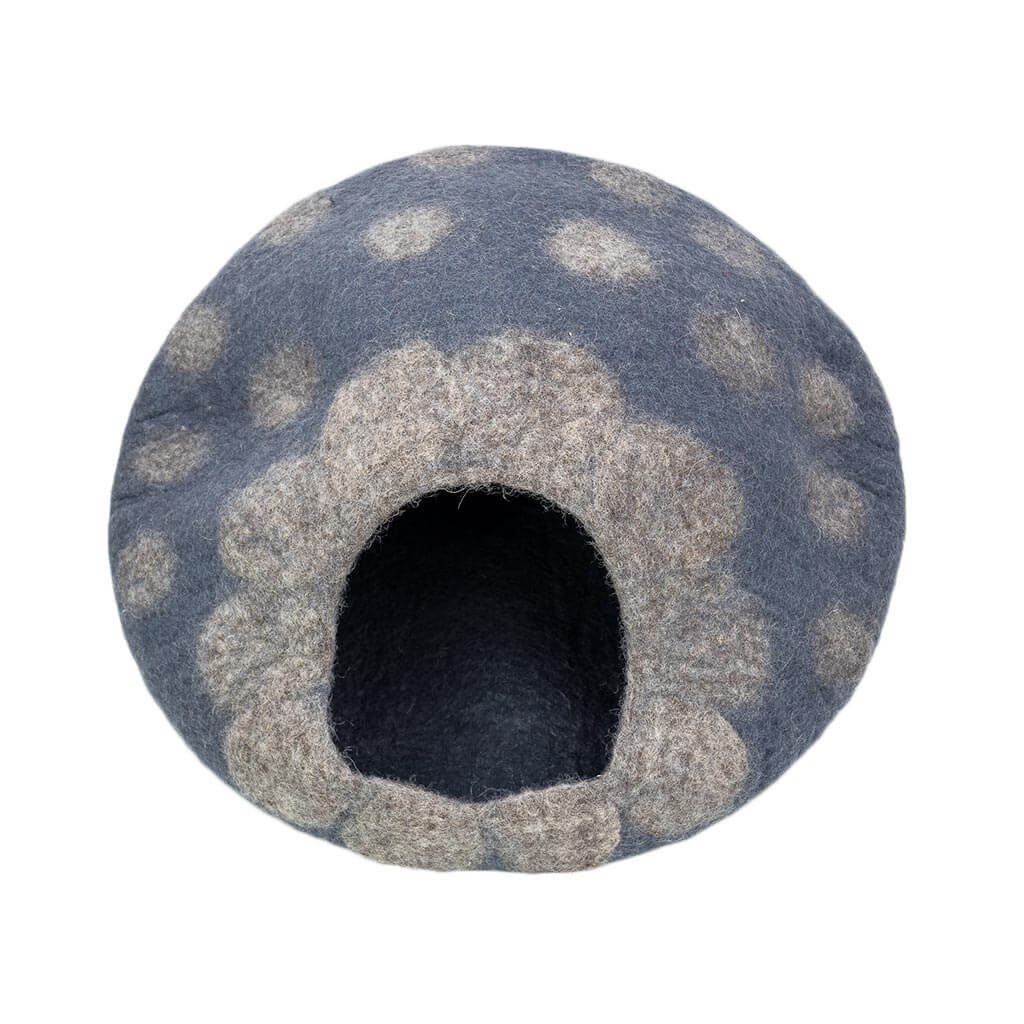 FC7509–Grey-Polka-Felt-Cat-House