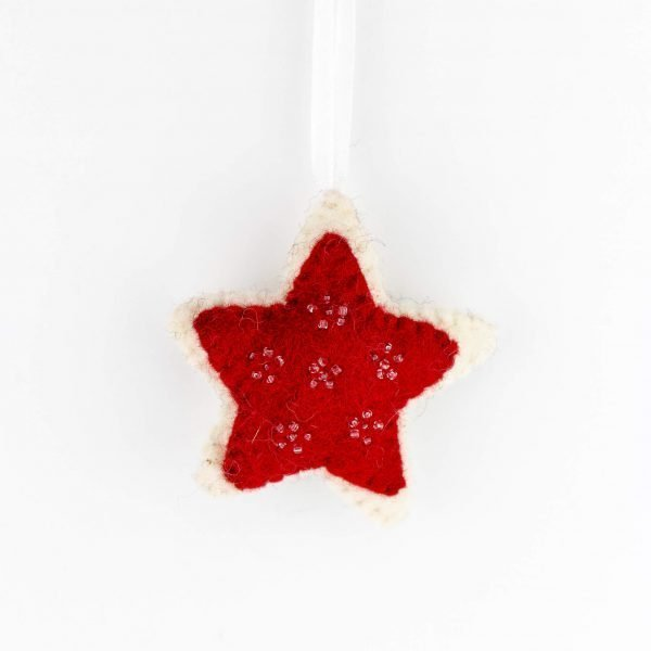 Red Felt Star Hanger - thamelshop - Felt Christmas Hanger with Bell - Eco-friendly - Christmas hanger with bell - Christmas decorative item - New Zealand wool christmass item - handmade christmass item - decorative item - christmass hanger- hanger with bell - felt item - felt handmade item - wool handmade item- wool decorative item- wool christmas item - xmas decorative item - xmas felt decorative item