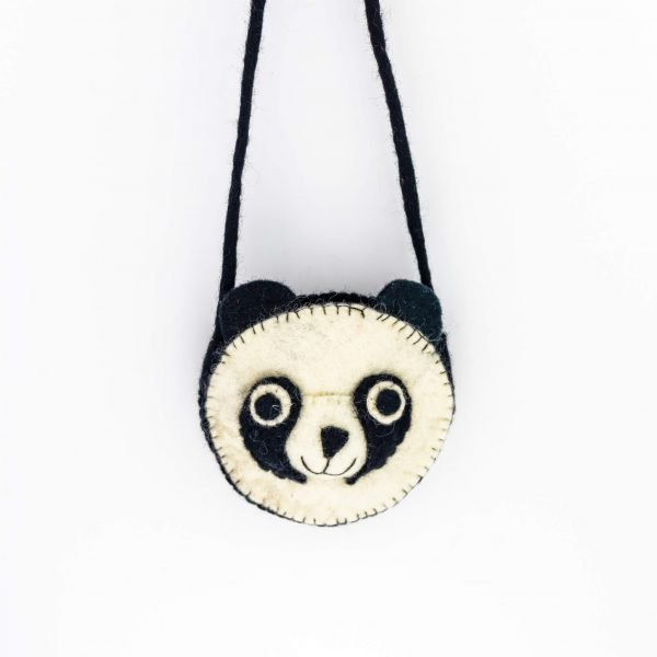 Felt Bag- felt panda shoulder bag - felt shoulder bag -black and white shoulder bag- child shoulder bag-kids shoulder bag-panda printed bag-shoulder bag- nepali bag- handmade bag- woolen bag