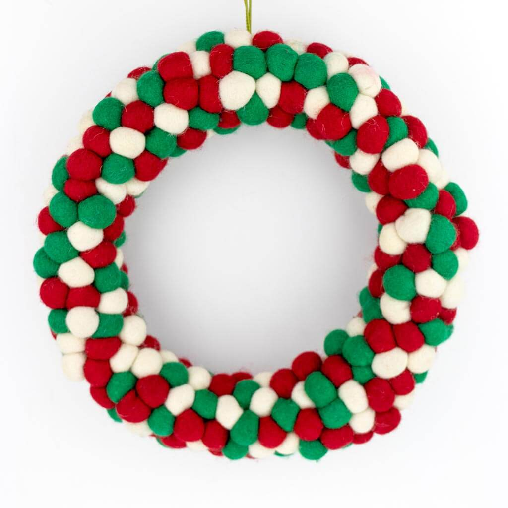 thamelshop - christmas wreath australia - christmas wreath - felt christmas wreath - christmas wreath images - christmas wreath ideas - wool christmas wreath - eco-friendly wreath - christmas gift - christmas decoration item- felt christmas decoration -felt ball christmas wreath - ball christmass wreath