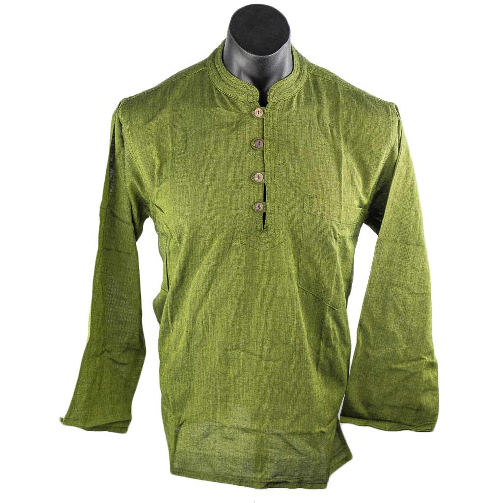 Thamelshop-green-cotton-plain-kurta-nepali-clothing-in-australia