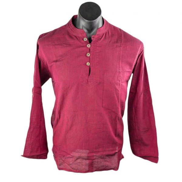 hippie-thamelshop-cotton-kurta-maroon-worlwide-shipping-nepal-clothing-australia