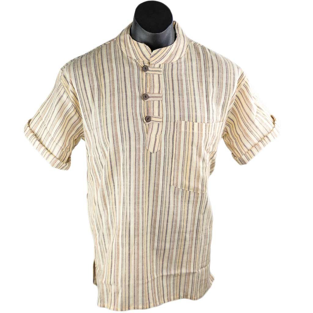 Off-White-Striped-Kurta-Short-Sleeve-Thamel-Shop
