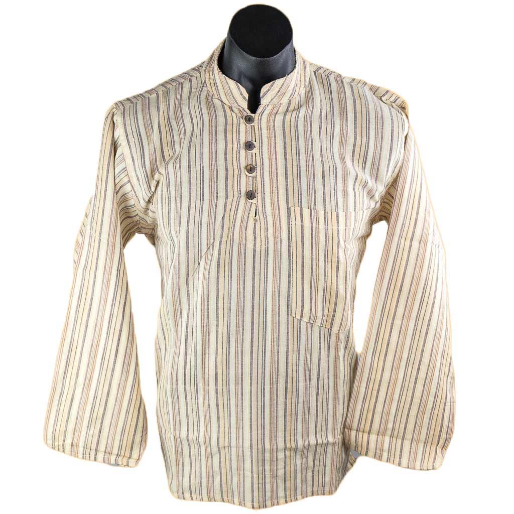 Off-White-full-sleeve-stripe-kurta-thamelshop-worldwide-shipping-hippie-nepal-clothing-australia