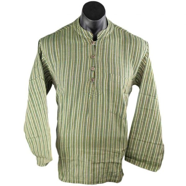 thamelshop-olive-green-striped-cotton-kurta-hippie-worldwide-shipping-nepal-clothing-australia