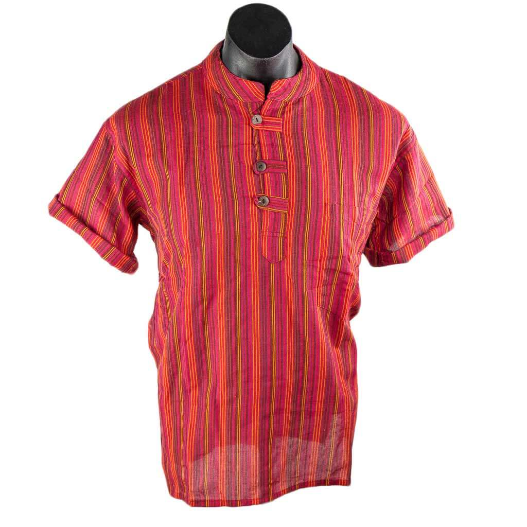 Thamelshop-hippie-Red-Short-Sleeve-Stripe-Cotton-Kurta-worldwide-shipping-nepal-clothing-australia