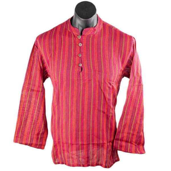 thamel-shop-red-cotton-striped-kurta