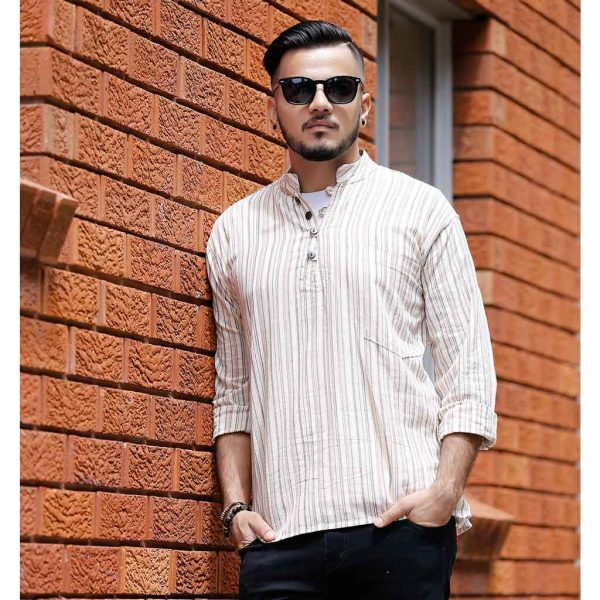 Striped Cotton Kurta - Off White | Thamel Shop