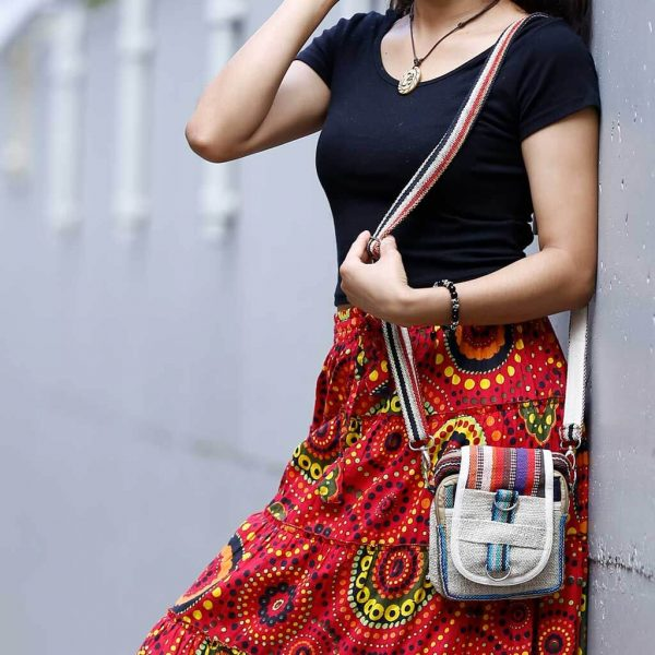 Tribal Print Hemp Shoulder Bag