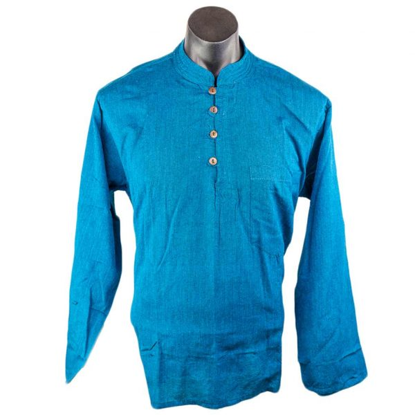 Thamelshop-plain-turquoise-cotton-kurta-worldwide-shipping-hippie-nepal-clothing-australia