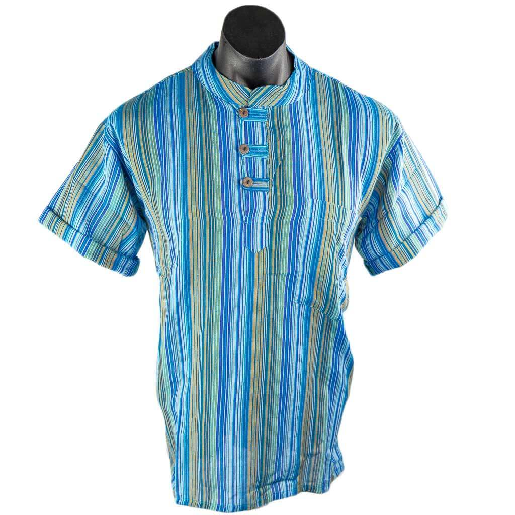 thamelshop-hippie-0-Turquoise-short-sleeve-cotton-stripe-kurta-worldwide-shipping-nepal-clothing-australia