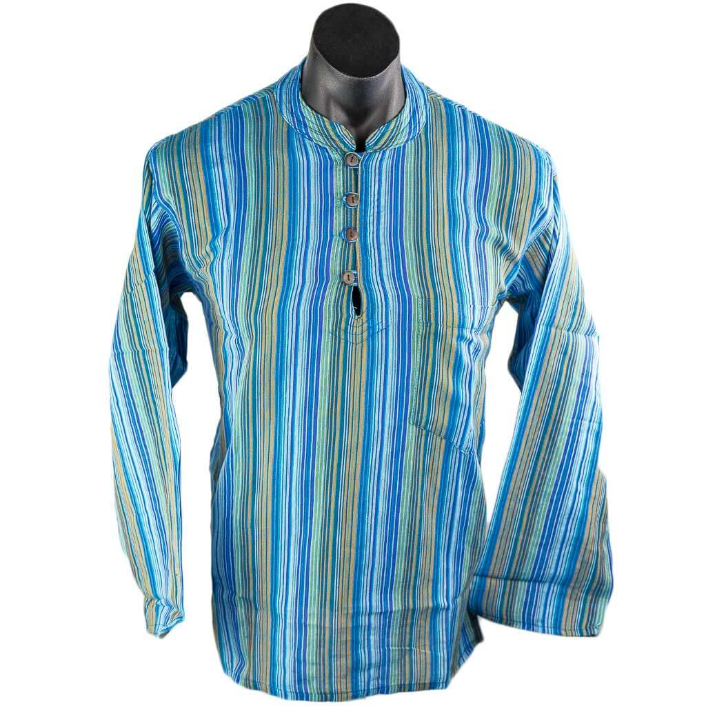 turquoise-striped-full-sleeve-kurta-thamelshop-hippie-fashion-nepali-clothes-in-australia